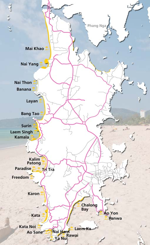 map of all major phuket beach guide with holiday and long term rental villas apartments nearby